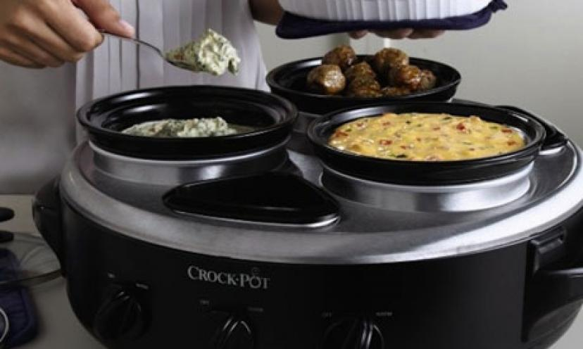 Enjoy 39% Off the Crock-Pot Triple Dipper Food Warmer with Portable Lid!