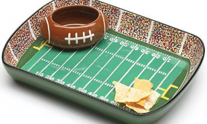 Save 31% On A Football Stadium Chip and Dip Serving Set!