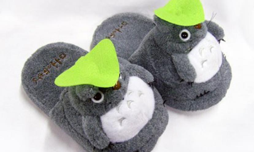 Get a Pair of Soft Gray Totoro Plush Slippers For 60% Off!