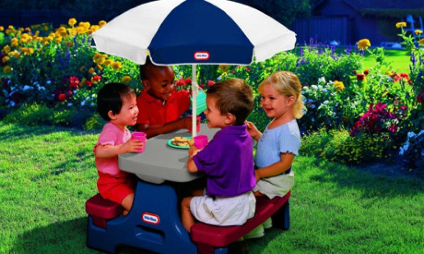 Save 36% on The Little Tikes Easy Store Junior Table with Umbrella!