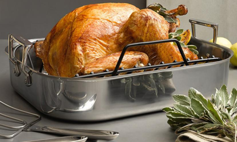 Save 43% On a Calphalon Tri-Ply Roaster with Rack & Lifters!