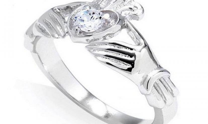 Save 71% on Sterling Silver Heart Birthstone Claddagh Ring!