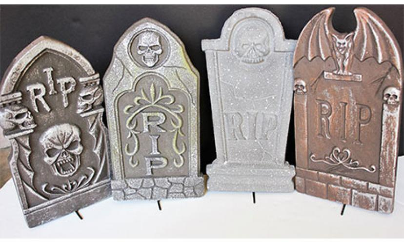 Save on a Set of 4 Halloween Tombstone Outdoor Decorations!