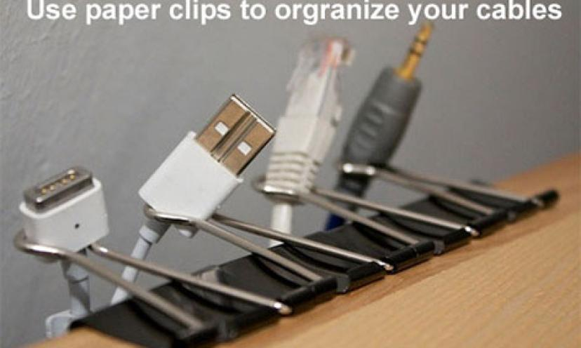 LIFE HACK: Use Binder Clips to Organize Cables!