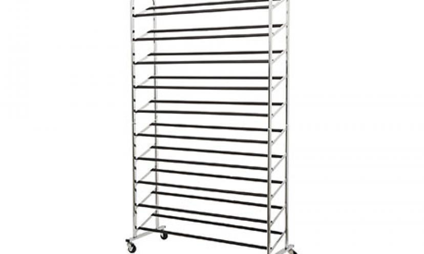 Get 10% Off on the AmazonBasics 50-Pair Shoe Rack!