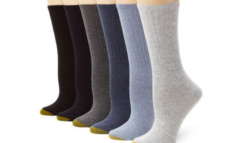 Save 45% Off on Gold Toe Women's 6-Pack Ribbed Crew Socks!