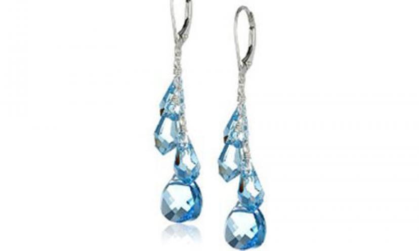 Save 64% on Sterling Silver and Swarovski Teardrop Earrings!