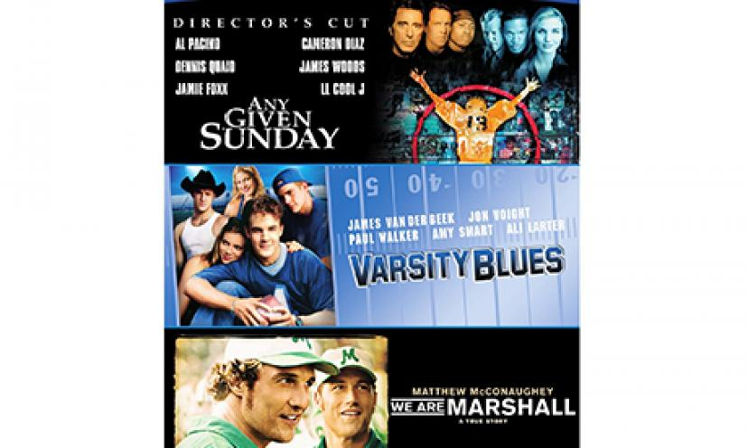 Get a football triple movie feature on blu-ray for only $11.99!