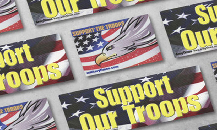 Get a FREE Support The Troops Window Cling!